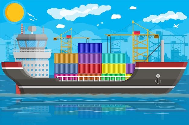 Buque de carga, grúa de contenedores. logística portuaria
