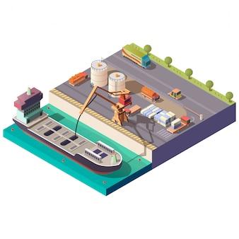 Buque cisterna cargando en puerto isométrico