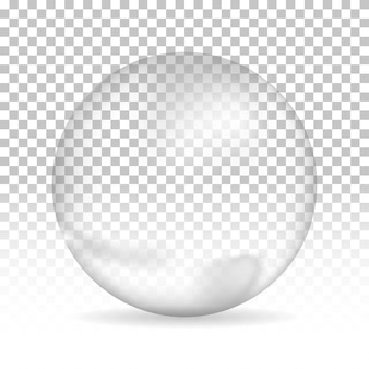 Burbuja de agua con sombra sobre fondo aislado