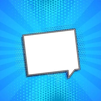 Burbuja de chat cómico sobre fondo azul con copyspace
