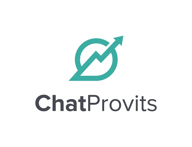 La burbuja de chat con flecha hacia arriba proporciona un esquema simple, elegante, creativo, geométrico, diseño de logotipo moderno