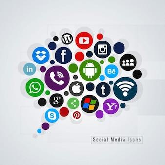 Burbuja de chat con iconos de redes sociales
