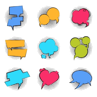 Burbuja de cómic. dibujos animados discurso pop art globo hablar chat divertido nube masaje cómico diálogo burbuja texto etiqueta. conjunto de forma retro