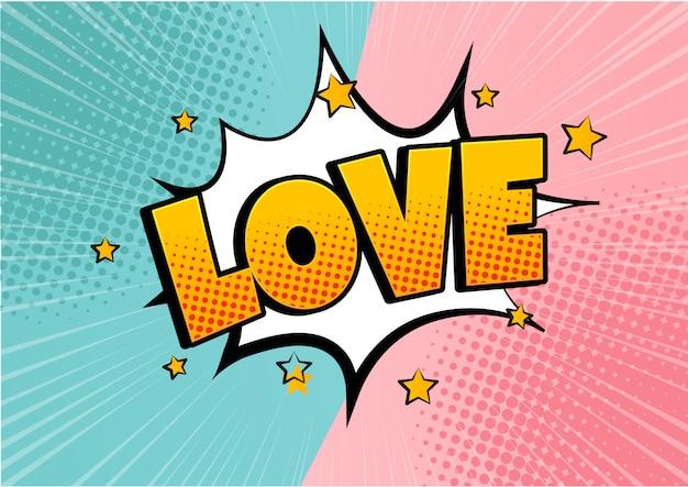 Burbuja cómica en forma de corazón amor pop art estilo retro. romance y día de san valentín. explosión de dibujos animados de amor. enamorarse.