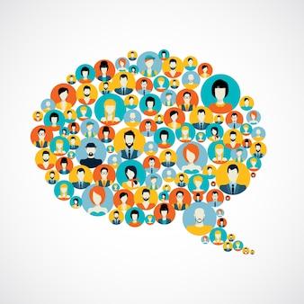 Burbuja de conversación con contactos de las redes sociales