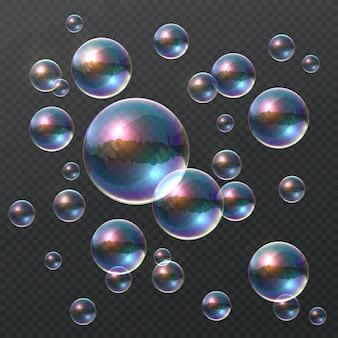 Burbuja de jabón transparente. burbujas 3d coloridas realistas, bola de champú clara del arco iris con reflejo de color.
