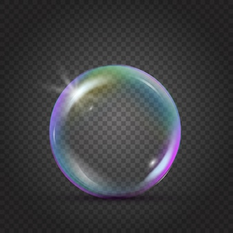 Burbuja realista colorido con reflejo del arco iris