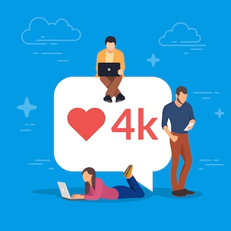 Burbuja de las redes sociales con el símbolo del corazón rojo. jóvenes que usan dispositivos móviles para establecer contactos y recopilar me gusta y comentarios. laptop, tablet pc y teléfono inteligente.