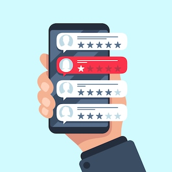 Burbuja de revisión de calificación, mensajes de texto de los revisores en la aplicación del teléfono móvil, elección de calificación de 5 estrellas mala o buena, plano