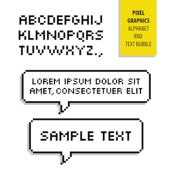 Burbuja de texto de píxeles y alfabeto de píxeles. gráficos