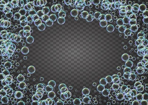 Burbujas de champú sobre fondo degradado