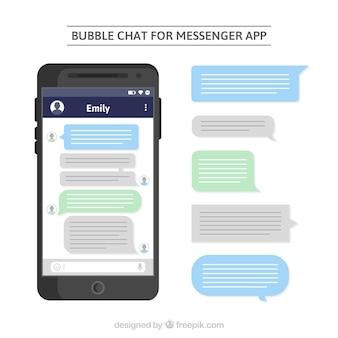 Burbujas de char para aplicación de mensajería en estilo plano