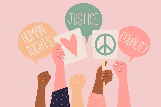 Burbujas de chat del día internacional de los derechos humanos