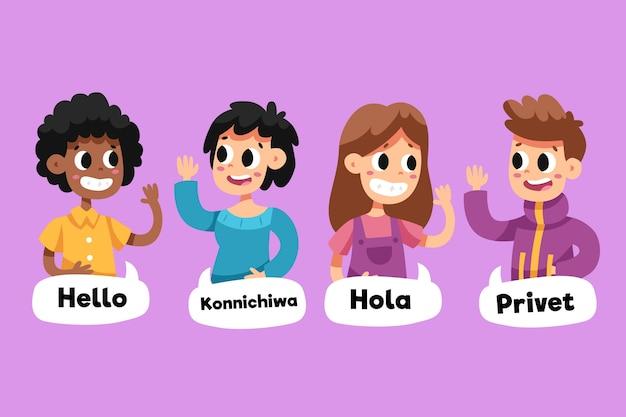 Burbujas de chat y personas que hablan en diferentes idiomas.