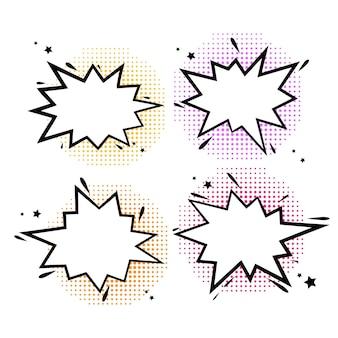 Burbujas de cómic explosiones de dibujos animados divertido discurso cómico nubes conjunto de explosión burbuja s