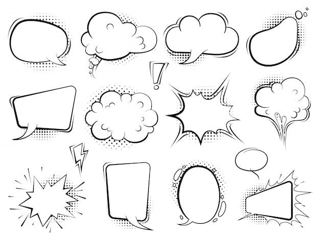 Burbujas cómicas globos de dibujos animados de discurso hablan arte retro con medios tonos