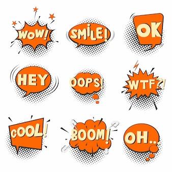 Burbujas cómicas retro con trama de semitonos