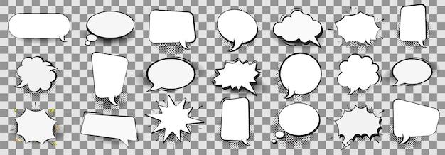 Burbujas cómicas vacías retro y elementos fijados con sombras de semitono negras sobre fondo transparente. ilustración, diseño vintage, estilo pop art.