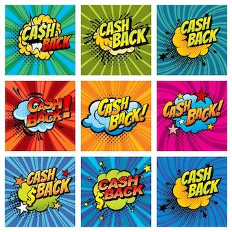 Burbujas de cómics de devolución de efectivo