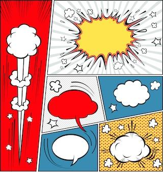 Burbujas de discurso cómico y fondo de cómic
