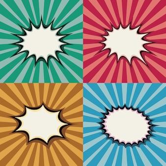 Burbujas del discurso del arte pop en blanco y formas de explosión en el fondo del atardecer retro superhéroe