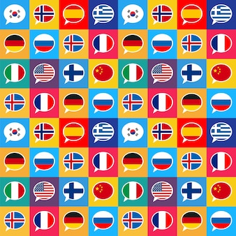 Burbujas de discurso con banderas de diferentes países en estilo de diseño plano, patrones sin fisuras