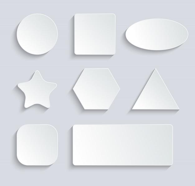 Burbujas de discurso en blanco blanco, botón en fondo gris. ilustración