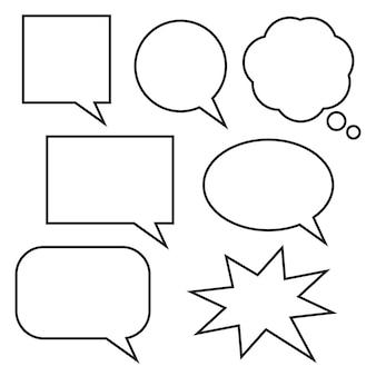 Burbujas de discurso blanco en blanco dibujos animados garabatos cuadro de chat con marco negro aislado sobre fondo blanco