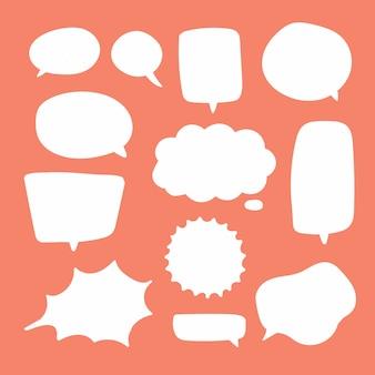Burbujas de discurso blanco en blanco.