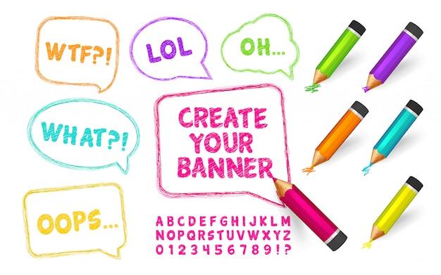 Burbujas de discurso, bosquejo alfabeto dibujado lápices de colores