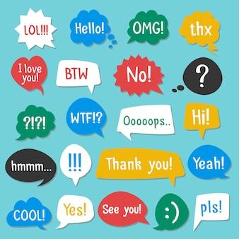 Burbujas de discurso color conjunto con sombra. acrónimos y abreviaturas. ilustración vectorial