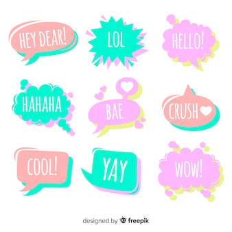 Burbujas de discurso coloridas y frescas para el diálogo