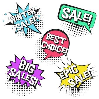 Burbujas de discurso de cómic retro con texto de grandes ventas