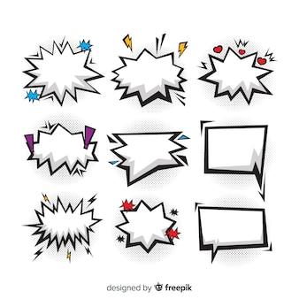 Burbujas de discurso cómico en blanco con elementos de colores