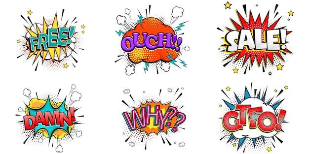 Burbujas de discurso cómico con diferentes emociones y texto gratis, ouch, sale, damn, why, gtfo