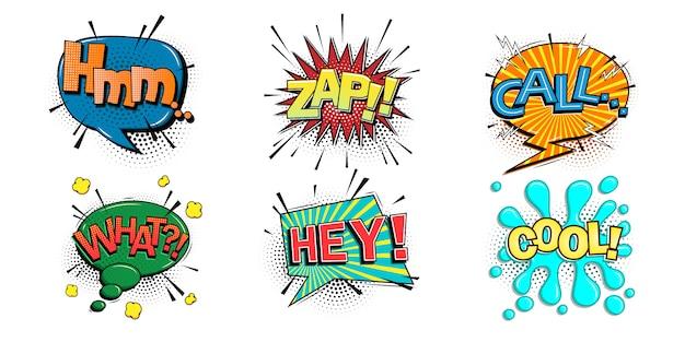 Burbujas de discurso cómico con diferentes emociones y texto hmm, zap, call, what, hey, cool