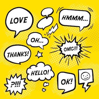 Burbujas de discurso cómico de simplicidad sobre fondo amarillo