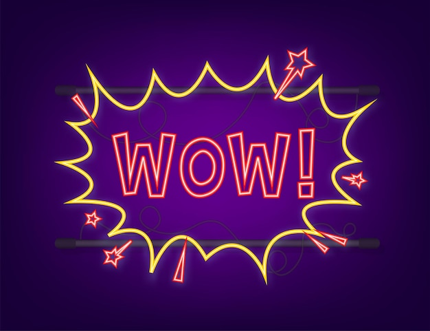 Burbujas de discurso cómico con texto wow. icono de neón. símbolo, etiqueta adhesiva, etiqueta de oferta especial, insignia publicitaria. ilustración de stock vectorial.