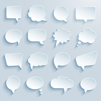 Burbujas de discurso de comunicación de papel
