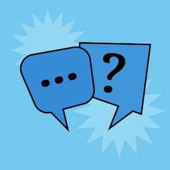 Burbujas de discurso de comunicación sobre fondo azul. ilustración vectorial
