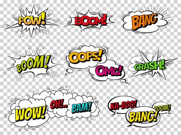 Burbujas de discurso de efecto de sonido de cómic