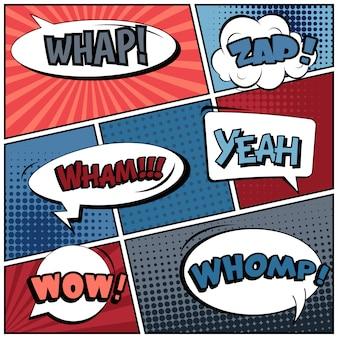 Burbujas de discurso de estilo cómic pop art.