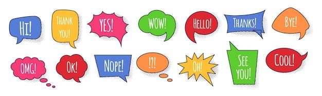 Burbujas de discurso con frases e ilustración de sombras punteadas. cuadros de texto coloridos y burbujas con varias frases para hablar y pensar. globos de diálogo con palabras de conversación.