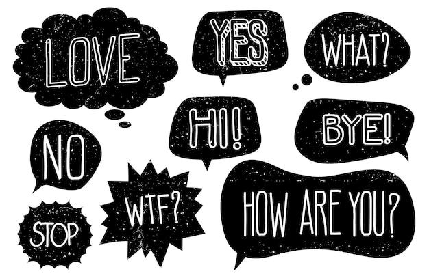 Burbujas de discurso grunge con conjunto de vectores de texto dibujado a mano