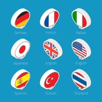Burbujas de discurso, iconos de idiomas con banderas de países.