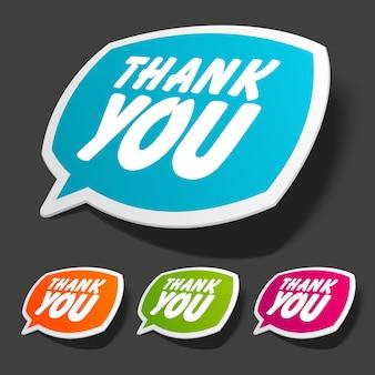 Burbujas de discurso con ilustración de escritos de agradecimiento