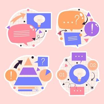 Burbujas de discurso ingenuo, flechas, pegatinas de elementos infográficos