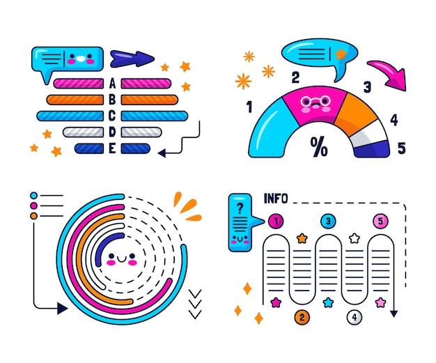 Burbujas de discurso kawaii, flechas y pegatinas de elementos infográficos