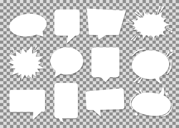 Burbujas de discurso de papel blanco.