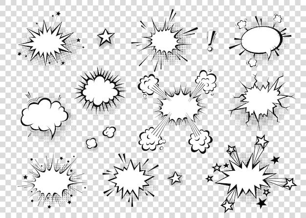 Burbujas de discurso con sombras de medios tonos en dibujos animados, estilo cómic. globos de diálogo. plantilla de vectores para redes sociales, banners de venta.
